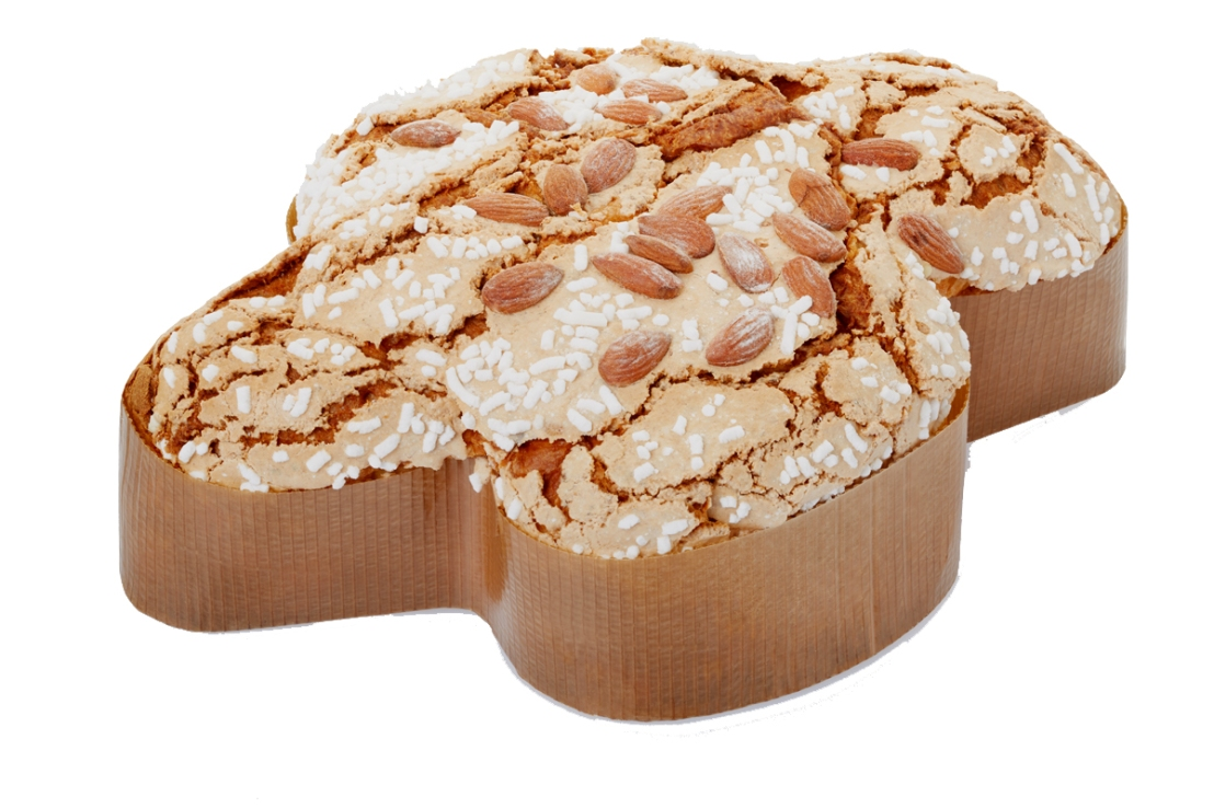Colomba, italian Easter cake in fom of a dove on white, clipping